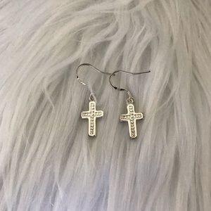 Cross Sterling Silver 925 Dangle Earrings